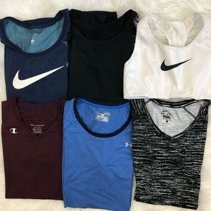 Nike UA Champion Workout Bundle Tops Sports Bra M